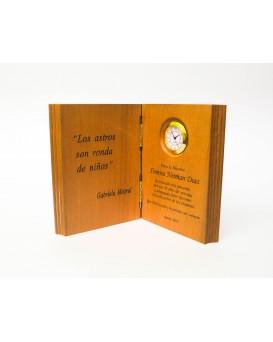 Galvano Madera libro con Reloj
